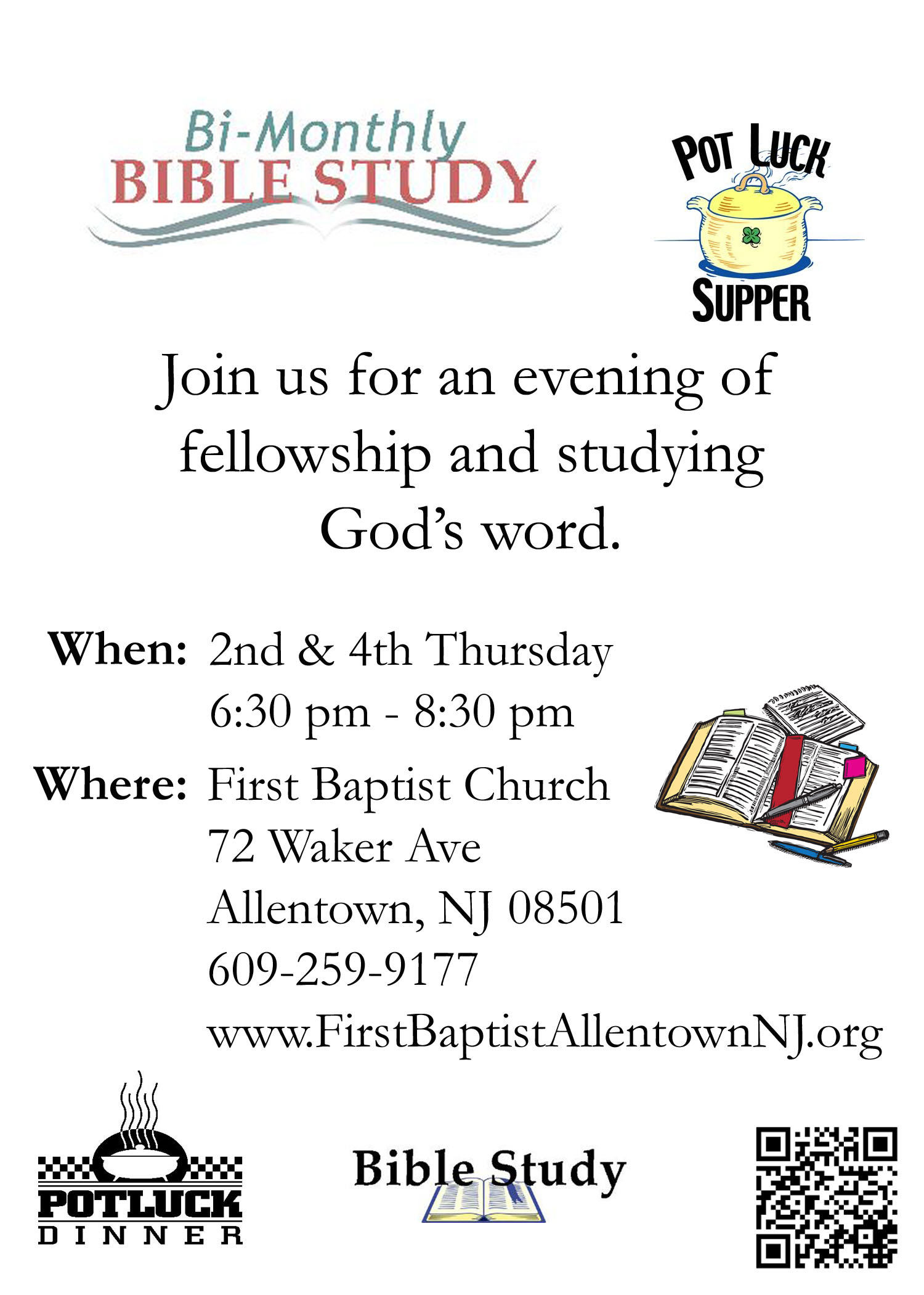 Covered Dish Supper & Bible Study - 2nd & 4th Thursday, 6:30 pm - 8:30 pm